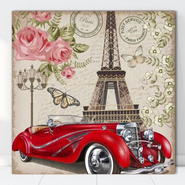 Tablou Canvas Ilustratie Vintage Masina in Paris VR20B