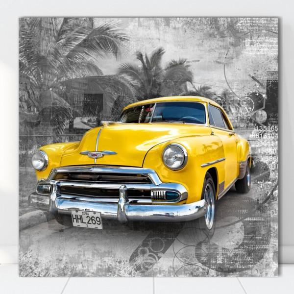 Tablou Canvas Masina de Epoca Galbena in Cuba OCC2