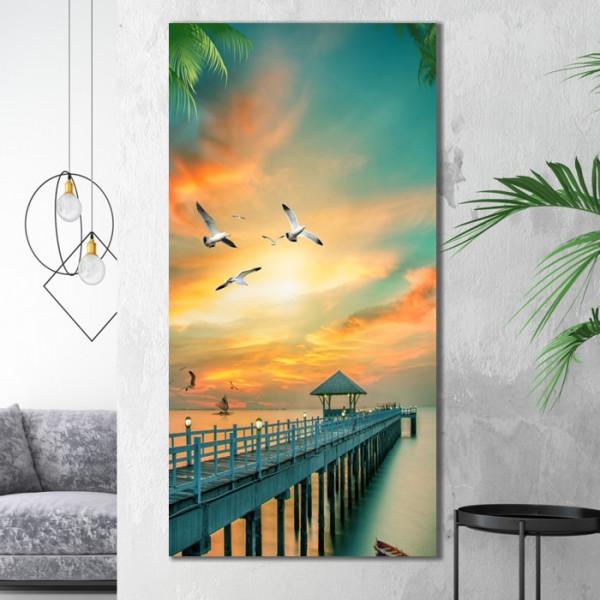 Tablou Canvas Ponton cu Pescarusi La Apus BTL46