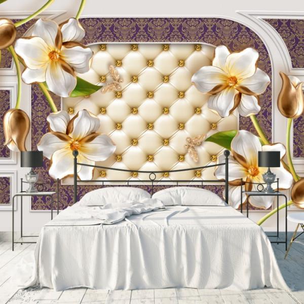 Fototapet 3D Flori Albe cu Lalele Aurii BES311