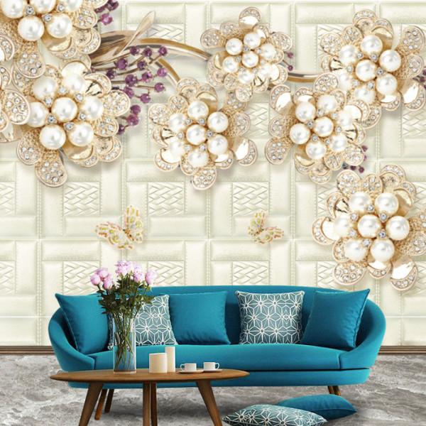 Fototapet 3D Flori cu Perle si Cristale BES316
