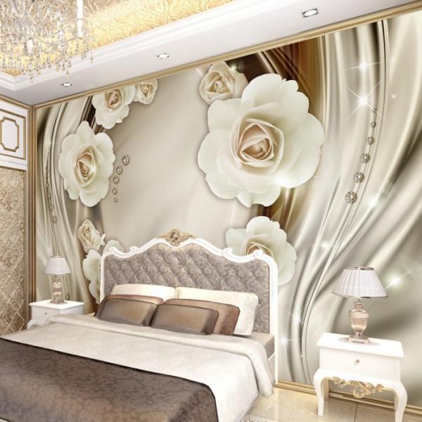 Fototapet 3D Trandafiri Albi In Fundal Modern Cu Cristale PFT26