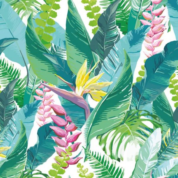 Fototapet Mix de Frunze Tropicale cu Strelitia FRZ12