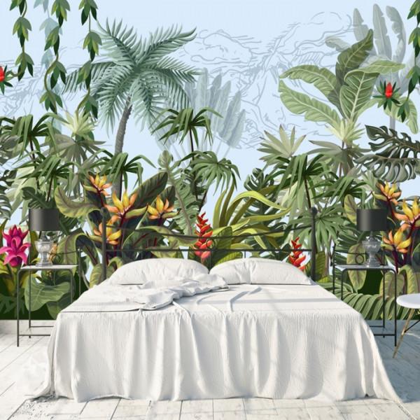 Fototapet Peisaj Tropical cu Palmieri si Plante Exotice GRD27