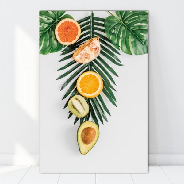 Tablou Canvas Fructe cu Frunze Exotice, Concept Nordic BES93