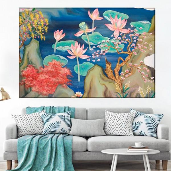 Tablou Canvas Peisaj Feng Shui cu Flori de Lotus si Frunze Turcoaz SEF85