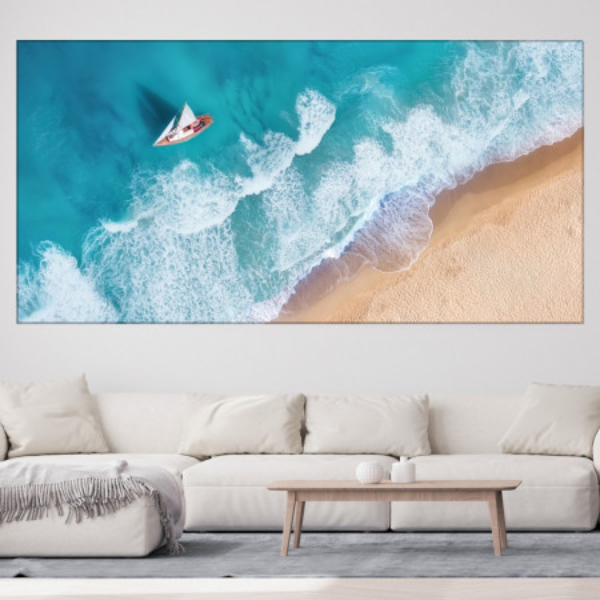 Tablou Canvas Peisaj Marin cu Yacht Prin Valuri Turcoaz PMO135