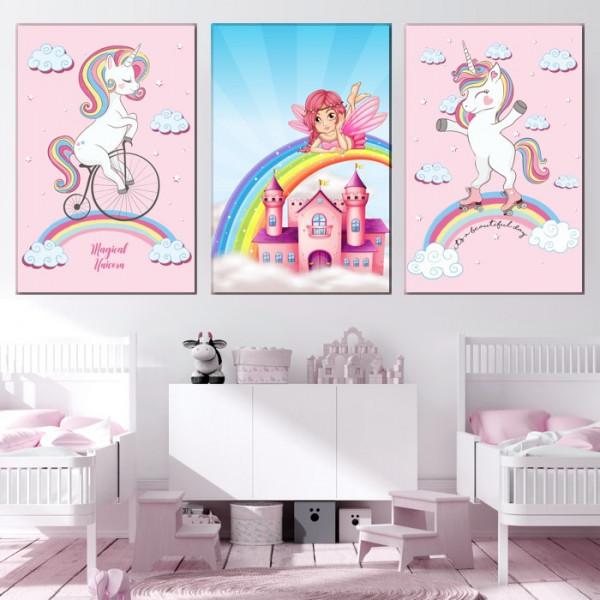 Tablou Canvas Unicorn cu Role pe Curcubeu CG3A