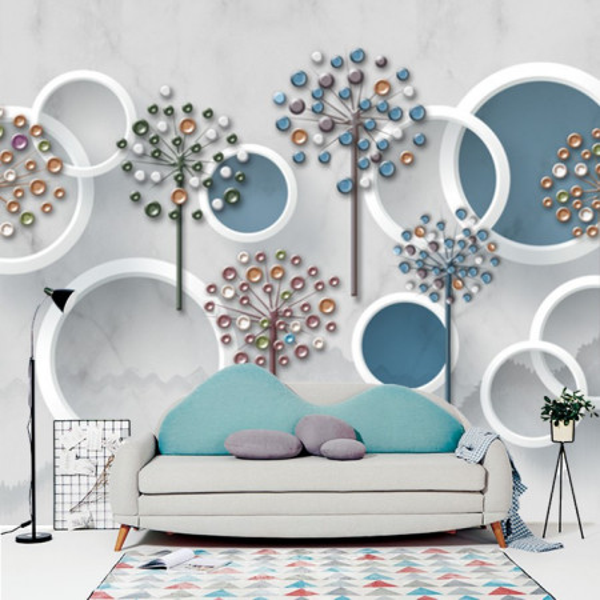 Fototapet 3D Cercuri Albe cu Fundal Albastru si Textura Ciment BES72