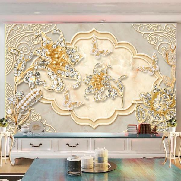 Fototapet 3D Flori Aurii cu Cristale BES88
