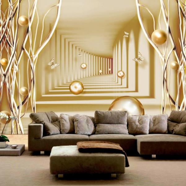 Fototapet 3D Fundal Modern Auriu OPON2