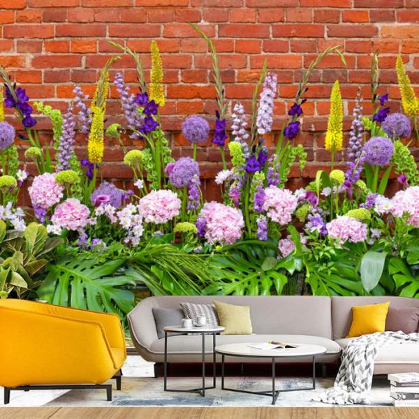 Fototapet 3D Mix de Flori si Textura de Caramida FRZ24