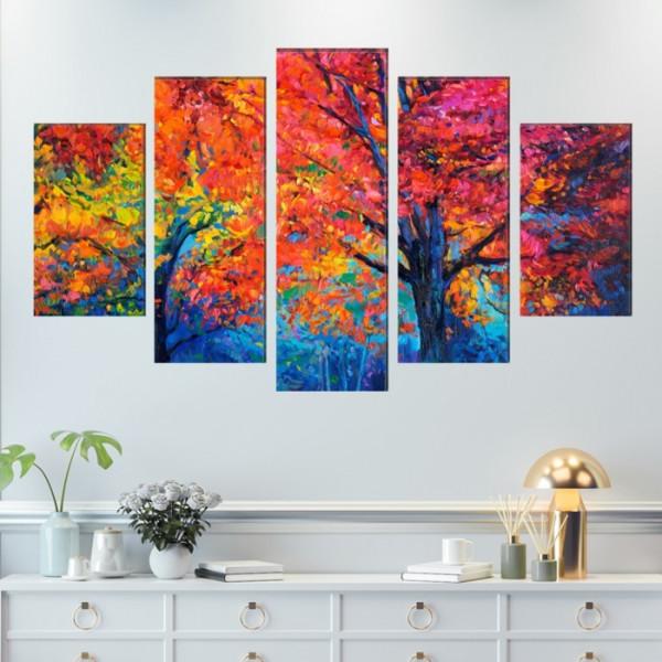 Multicanvas Peisaj Padure in Culori Vibrante STTP4