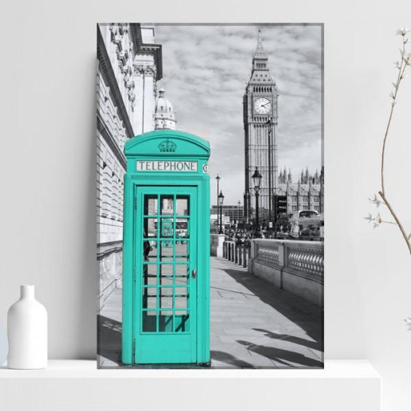 Tablou Canvas Cabina Telefonica Turcoaz in Londra NUC3