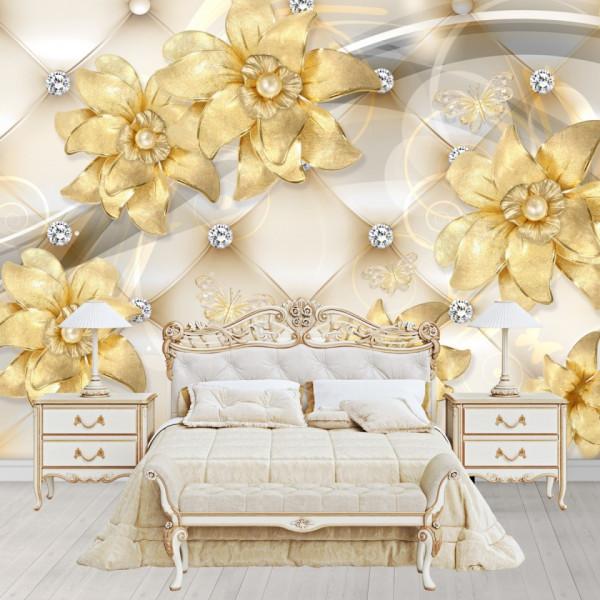 Fototapet 3D Flori Aurite cu Cristale BES165