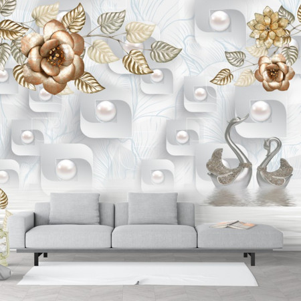Fototapet 3D Flori cu Lebede Argintii PFT49
