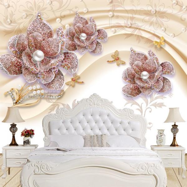 Fototapet 3D Flori Cu Perle si Cristale BES25