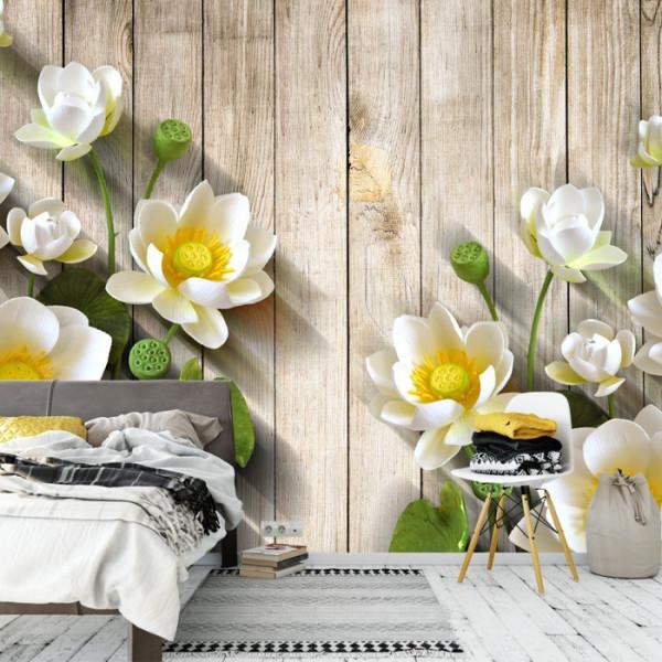 Fototapet 3D Flori de Lotus Albe OPOS43