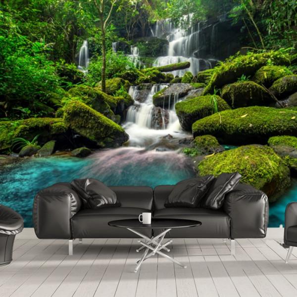 Fototapet 3D  Padure cu Cascada printre Stanci WTF68