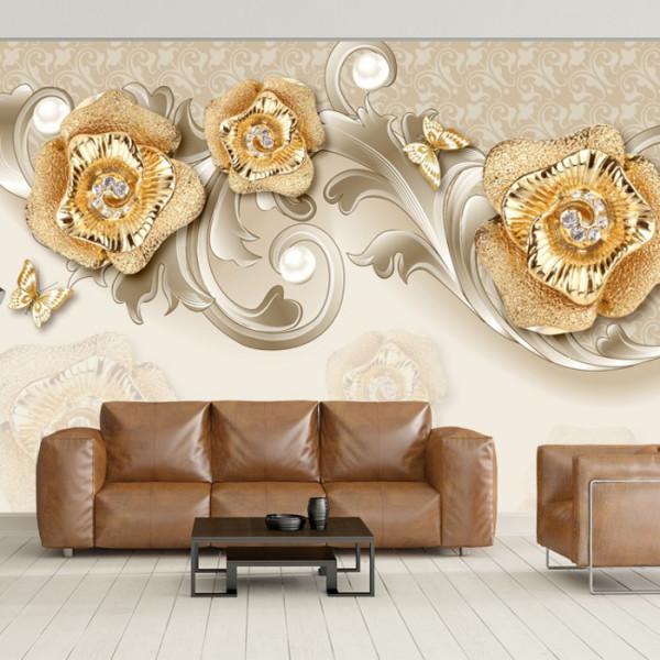 Fototapet 3D Trandafiri Aurii cu Cristale OPON19