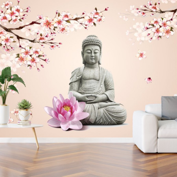 Fototapet Buddha Printre Crengute cu Flori de Cires BDS19