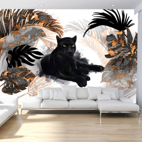 Fototapet Pantera Neagra Printre Frunze Exotice AMG2109