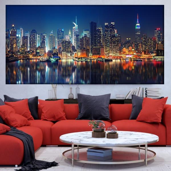 Tablou Canvas Vedere Panoramică pe Manhattan Noaptea, New York, SUA