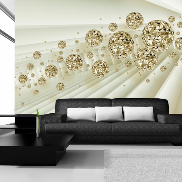 Fototapet 3D Sfere Aurii Moderne OPOS64