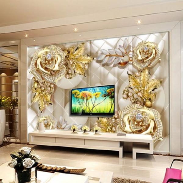 Fototapet 3D Trandafiri Aurii cu Cristale PFT46