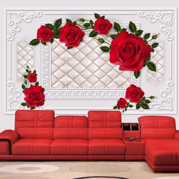 Fototapet 3D Trandafiri Rosii cu Fundal Royal BES96