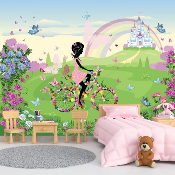 Vrei decorezi camera unei fetite? Alege Fototapet Fata pe Bicicleta cu Flori in Peisaj de Poveste DGP24