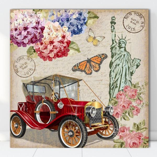 Tablou Canvas Ilustratie Vintage Masina in New York VR20D