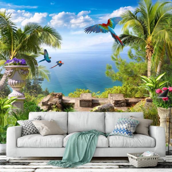 Fototapet 3D Peisaj Tropical cu Papagali DIF11