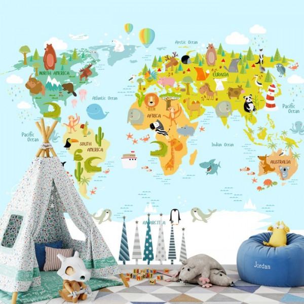 Fototapet Camere pentru Copii, Harta Lumii cu Animalute HCG3