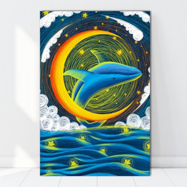 Tablou Canvas Ilustratie Balena Noaptea FZT6