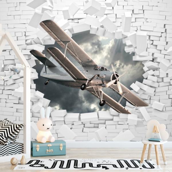 Fototapet 3D Avion Printre Caramizi Albe AMA27