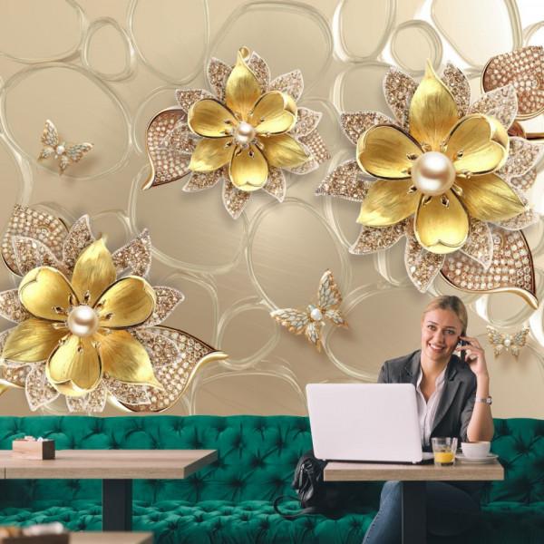 Fototapet 3D Flori Aurii cu Perle si Cristale BES23
