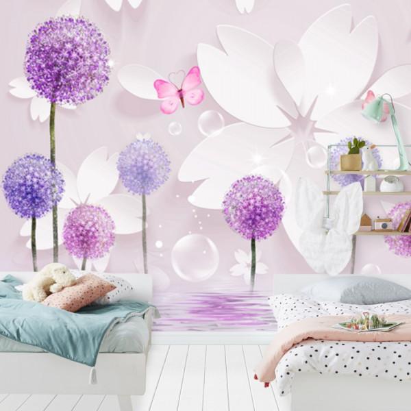 Fototapet 3D Flori Mov si Roz Cu Fluturi OPOS52