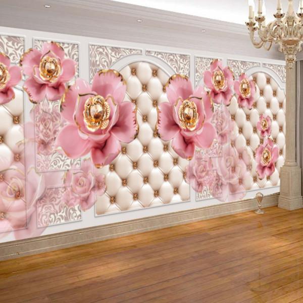 Fototapet 3D Flori Roz cu Rubine BES301