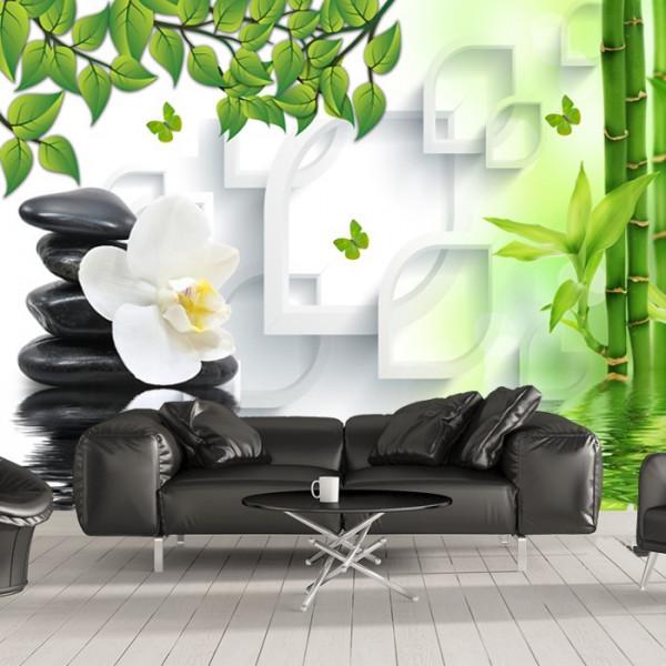 Fototapet 3D Pietre Spa cu Bambus si Orhidee Alba OPOS78