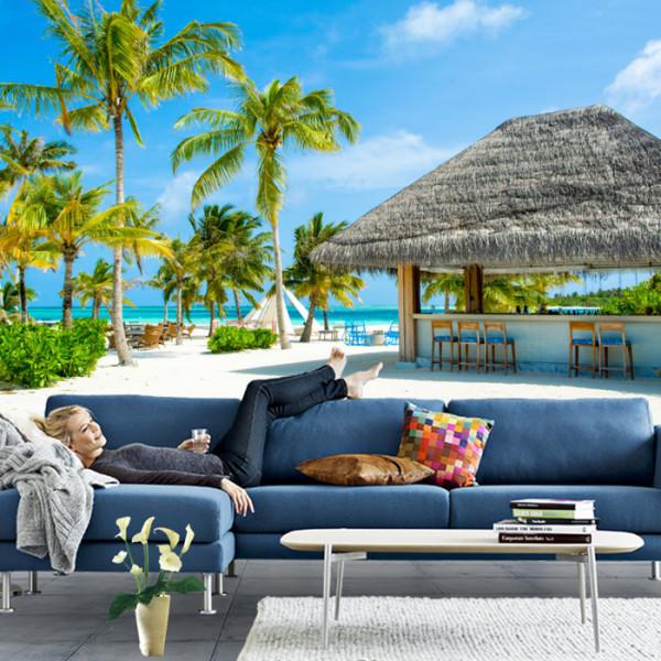 Fototapet 3D Plaja cu Palmieri si Bar cu Stuf GRTV38