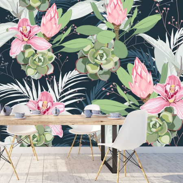 Fototapet Modern Orhidee cu Plante Suculente FRZ23