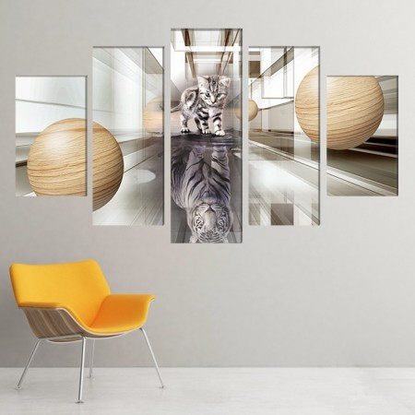 Multicanvas Pisic Printre Sfere cu Reflexie Tigru ATGR100