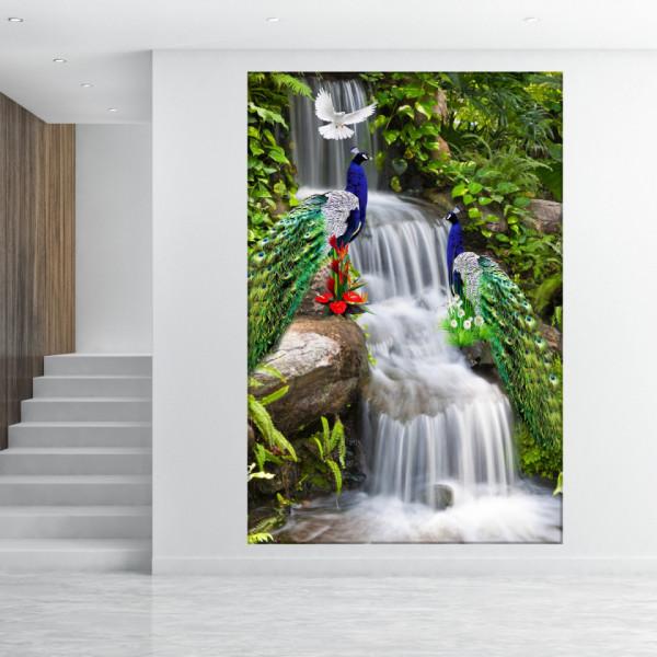 Tablou Canvas 2 Pauni Frumosi in Peisaj cu Cascada FSHB45