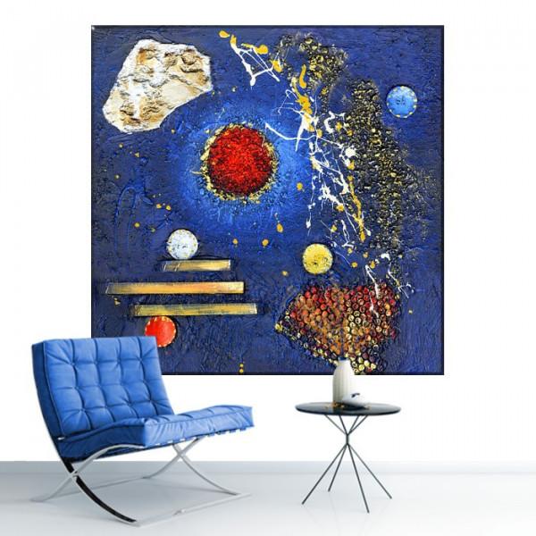 Tablou Canvas Compozitie Abstracta, Albastru si Rosu CTB38