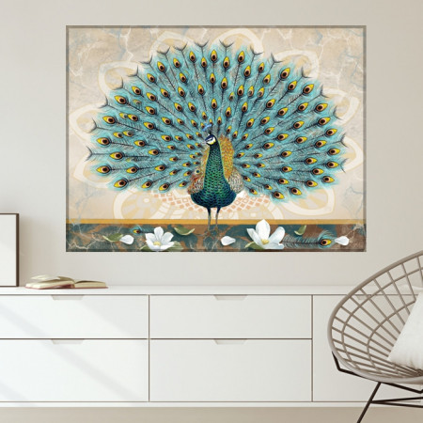 Tablou Canvas Ilustratie Flori Albe cu Paun OPO9B