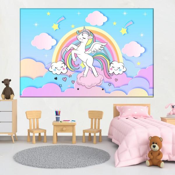 Tablou Canvas Unicorn Printre Norisori cu Curcubeu DGP23T