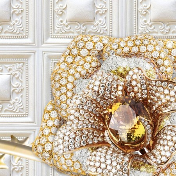 Fototapet 3D Flori din Smarald cu Cristale BES97
