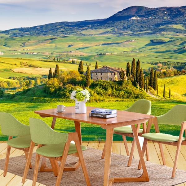 Fototapet 3D Peisaj de Vara din Toscana la Apus, Italia RIT93