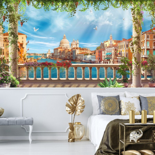Fototapet 3D Peisaj De Vis cu Coloane in Venetia DIF39